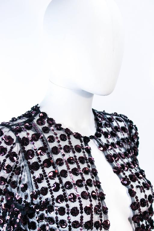 ANTIQUE 1930'S Tulle & Chocolate Bronze Sequin Applique Jacket Size 4 For Sale 1
