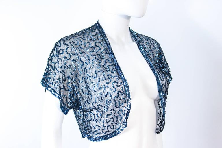 ANTIQUE 1930'S Blue Sequin and Tulle Bolero Size 2 4 For Sale 1