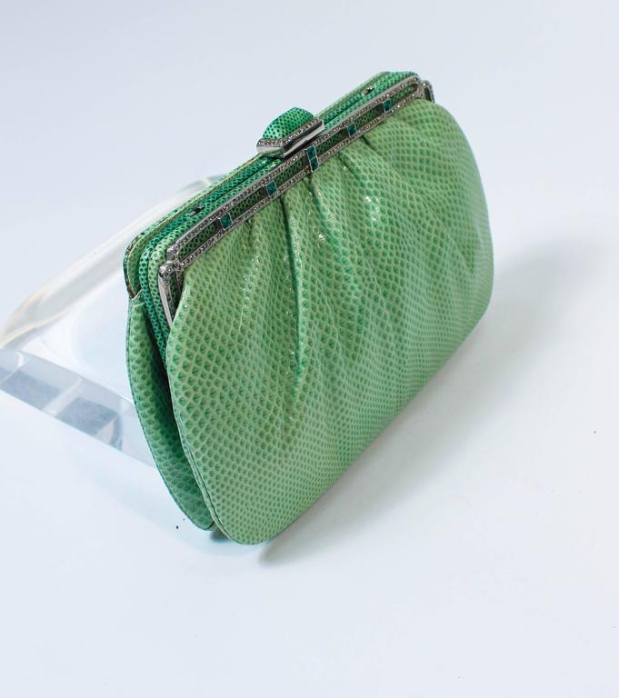 JUDITH LEIBER Vintage Mint Lizard Skin Purse with Pave Rhinestone Frame & Chain For Sale 1