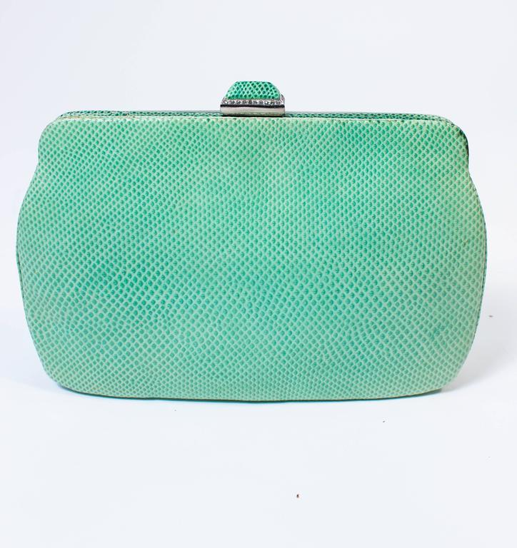 JUDITH LEIBER Vintage Mint Lizard Skin Purse with Pave Rhinestone Frame & Chain For Sale 4