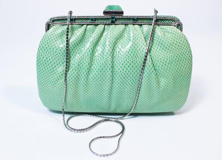 JUDITH LEIBER Vintage Mint Lizard Skin Purse with Pave Rhinestone Frame & Chain In Excellent Condition For Sale In Los Angeles, CA