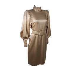 Galanos Silk Champagne Cocktail Dress with Ruched Details and Belt Size 2-4
