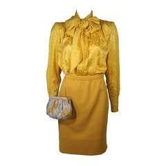 Galanos Yellow Silk Blouse and Skirt Ensemble with Judith Leiber Purse Size 2-4