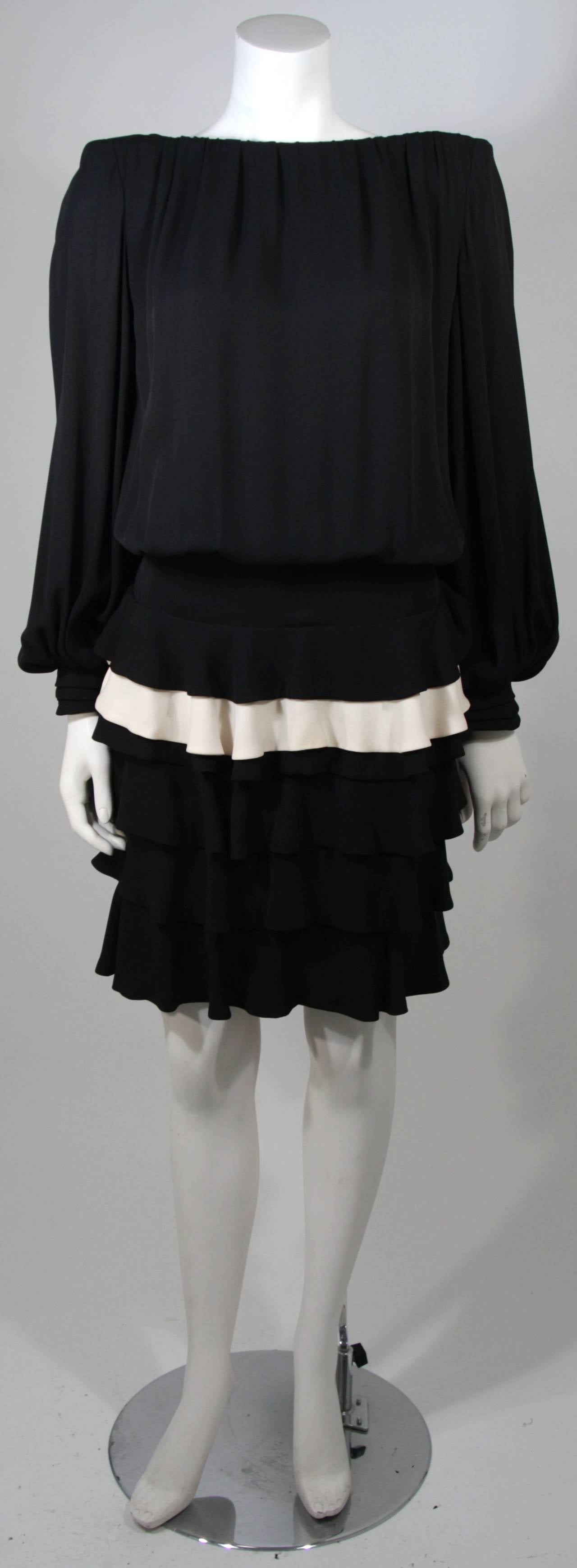 Galanos Black and Cream Ruffled Cocktail Dress with Dramatic Neckline Size 2 2