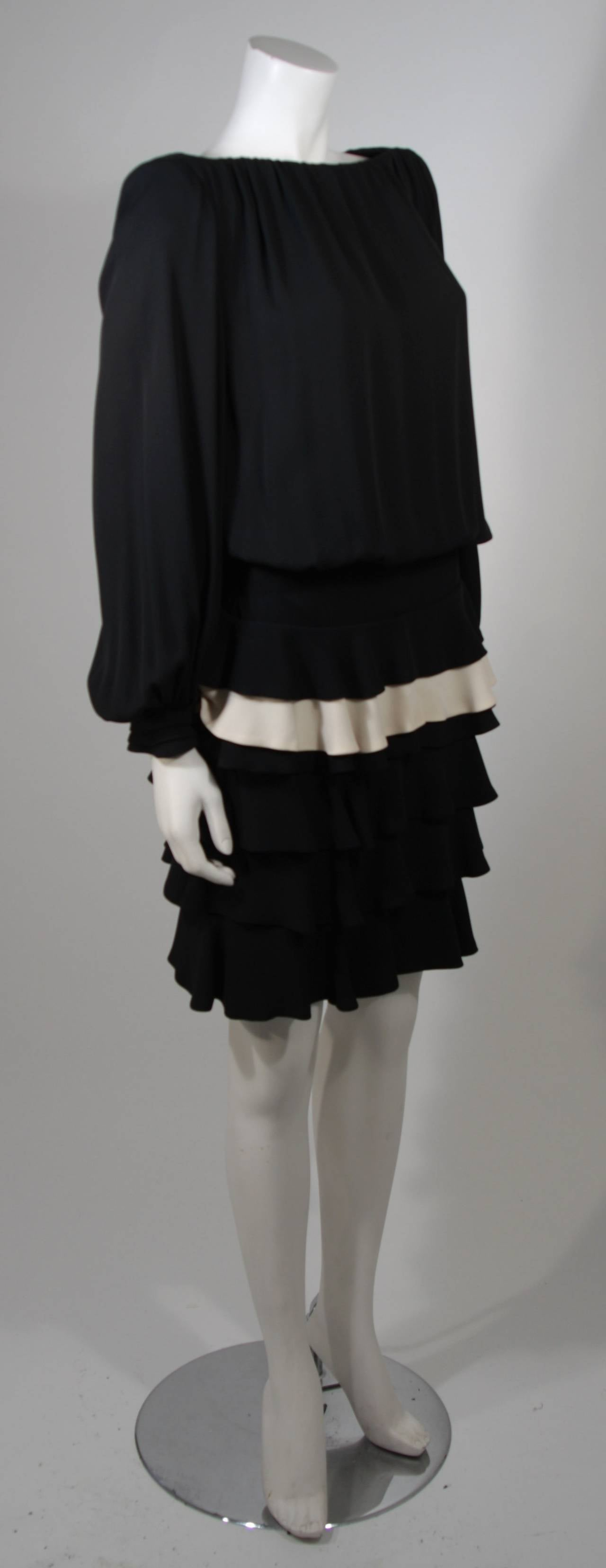 Galanos Black and Cream Ruffled Cocktail Dress with Dramatic Neckline Size 2 4