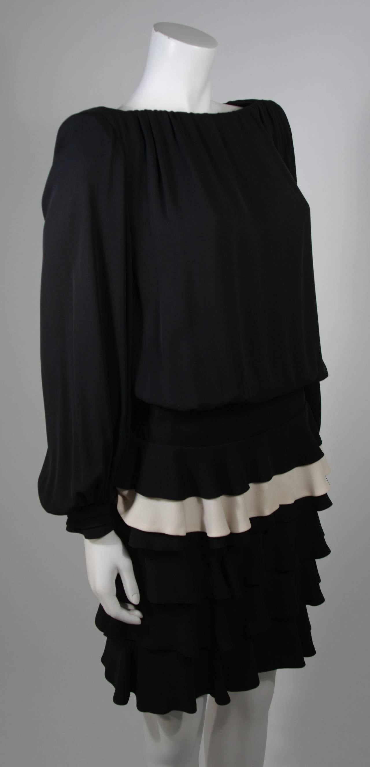 Galanos Black and Cream Ruffled Cocktail Dress with Dramatic Neckline Size 2 5