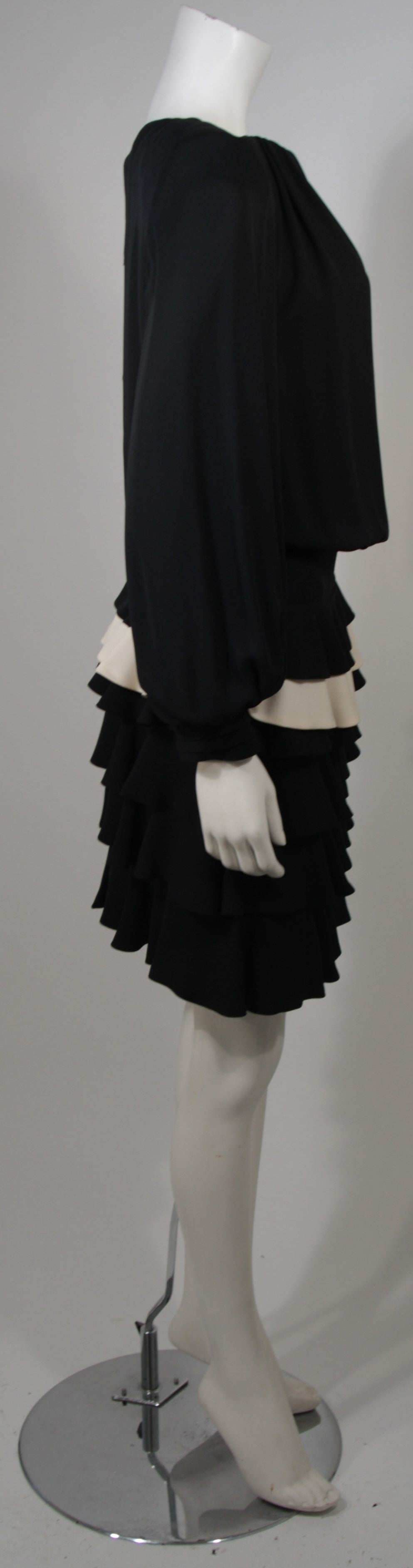 Galanos Black and Cream Ruffled Cocktail Dress with Dramatic Neckline Size 2 6