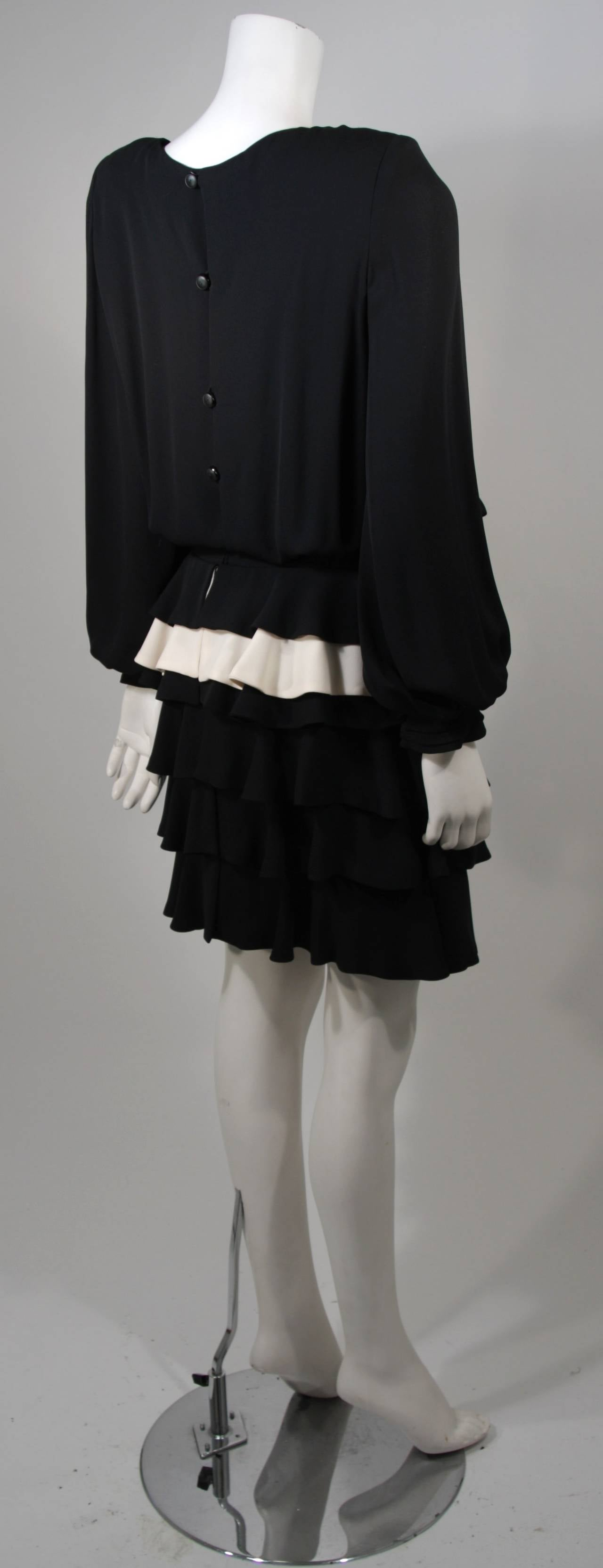 Galanos Black and Cream Ruffled Cocktail Dress with Dramatic Neckline Size 2 7