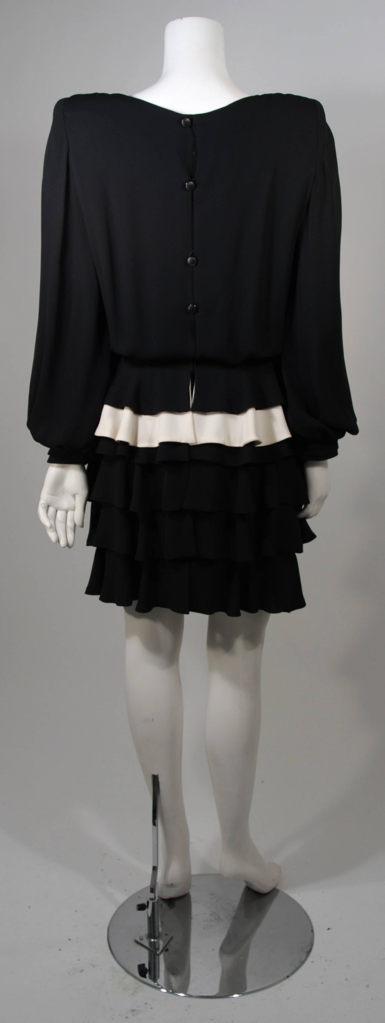 Galanos Black and Cream Ruffled Cocktail Dress with Dramatic Neckline Size 2 9