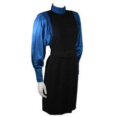 Galanos Black Wool Cocktail Dress with Royal Blue Full Silk Sleeves Size 2-4
