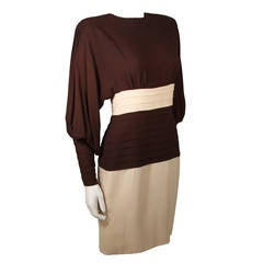 Galanos Attributed Brown and Cream Silk Chiffon Cocktail Dress Size 2-4