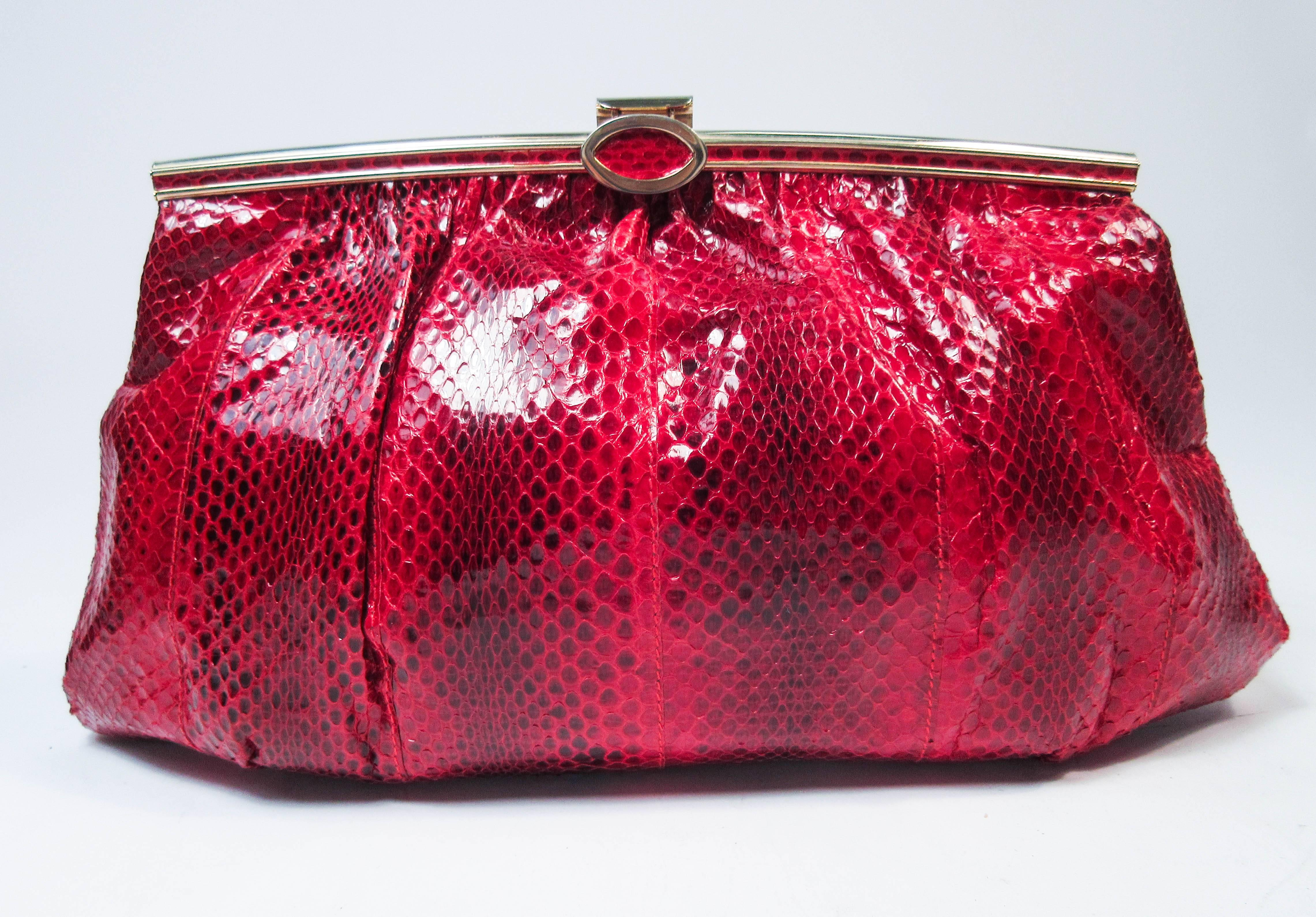 1stdibs Red Python Cross Body Clutch With Gold Hardware & Strap Made In Spain 9Kihh