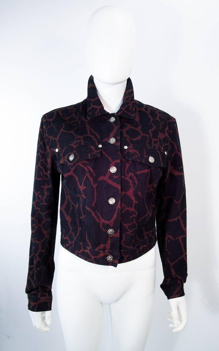 versace vintage black and brown giraffe print denim jacket