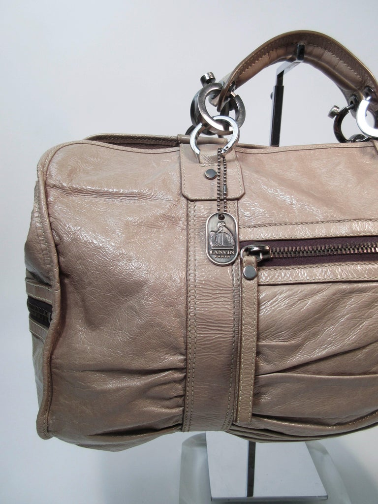 Lanvin Patent Taupe Carry All Handbag With Silver Hardware In Fair Condition For Los