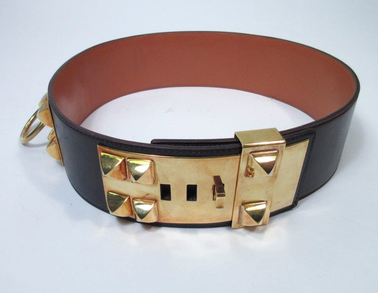 HERMES Collier De Chien Vintage Brown Leather Belt with Gold Hardware Size Large In Excellent Condition For Sale In Los Angeles, CA