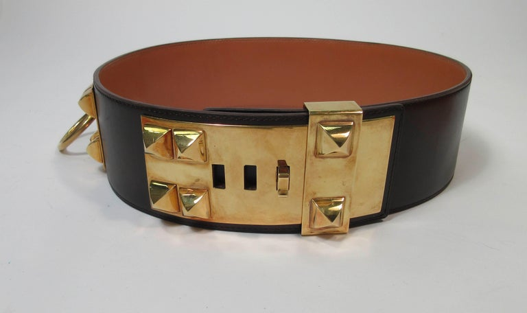 Women's HERMES Collier De Chien Vintage Brown Leather Belt with Gold Hardware Size Large For Sale