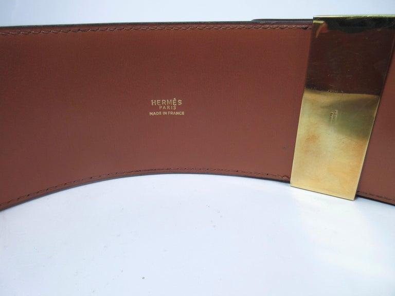 HERMES Collier De Chien Vintage Brown Leather Belt with Gold Hardware Size Large For Sale 1