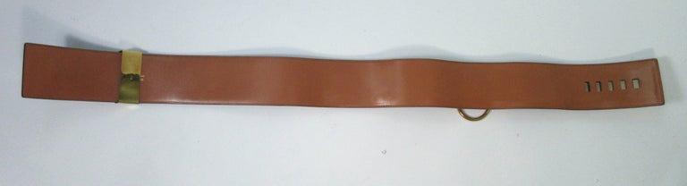 HERMES Collier De Chien Vintage Brown Leather Belt with Gold Hardware Size Large For Sale 3