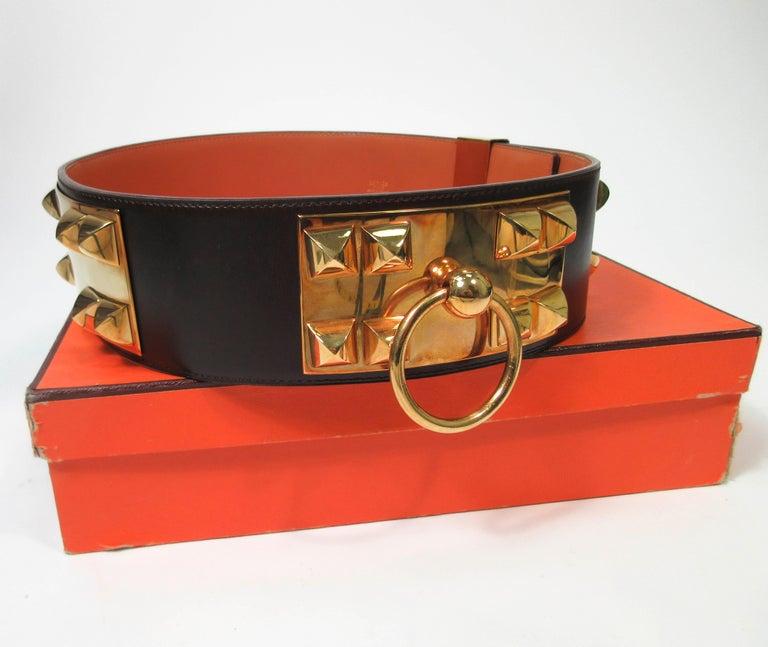 HERMES Collier De Chien Vintage Brown Leather Belt with Gold Hardware Size Large For Sale 7