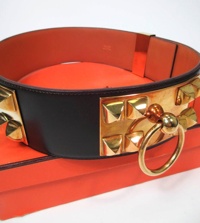 HERMES Collier De Chien Vintage Brown Leather Belt with Gold Hardware Size Large For Sale 8