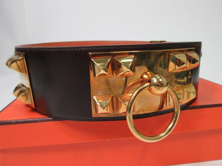 HERMES Collier De Chien Vintage Brown Leather Belt with Gold Hardware Size Large For Sale 9