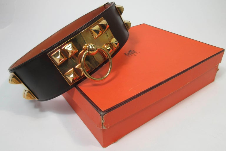HERMES Collier De Chien Vintage Brown Leather Belt with Gold Hardware Size Large For Sale 10