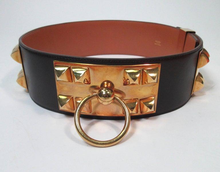 Black HERMES Collier De Chien Vintage Brown Leather Belt with Gold Hardware Size Large For Sale