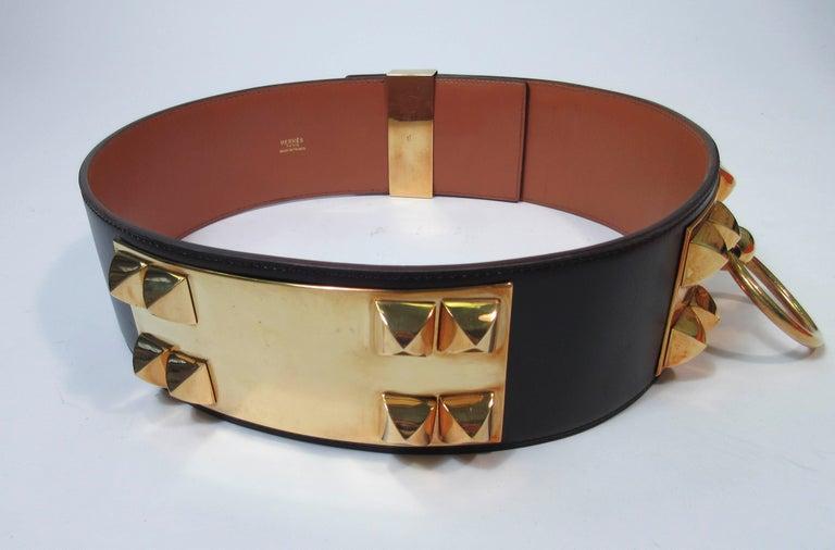 HERMES Collier De Chien Vintage Brown Leather Belt with Gold Hardware Size Large For Sale 11