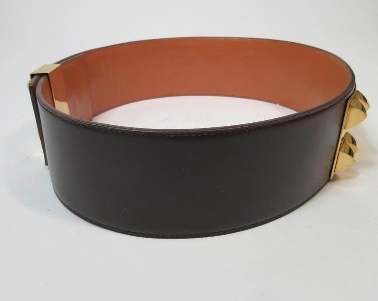 HERMES Collier De Chien Vintage Brown Leather Belt with Gold Hardware Size Large For Sale 12