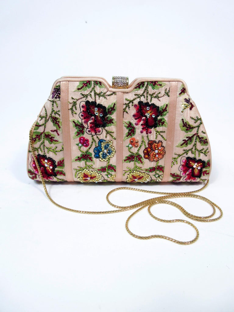 Judith Leiber Peach Satin Rhinestone Embroidered Purse  In New Condition For Sale In Los Angeles, CA