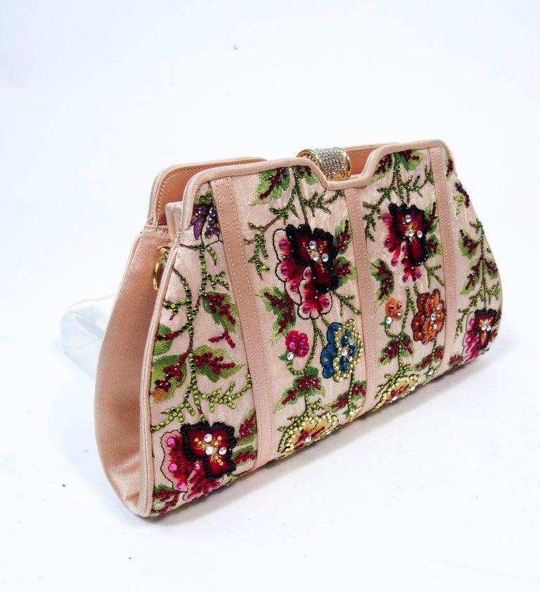Women's or Men's Judith Leiber Peach Satin Rhinestone Embroidered Purse  For Sale