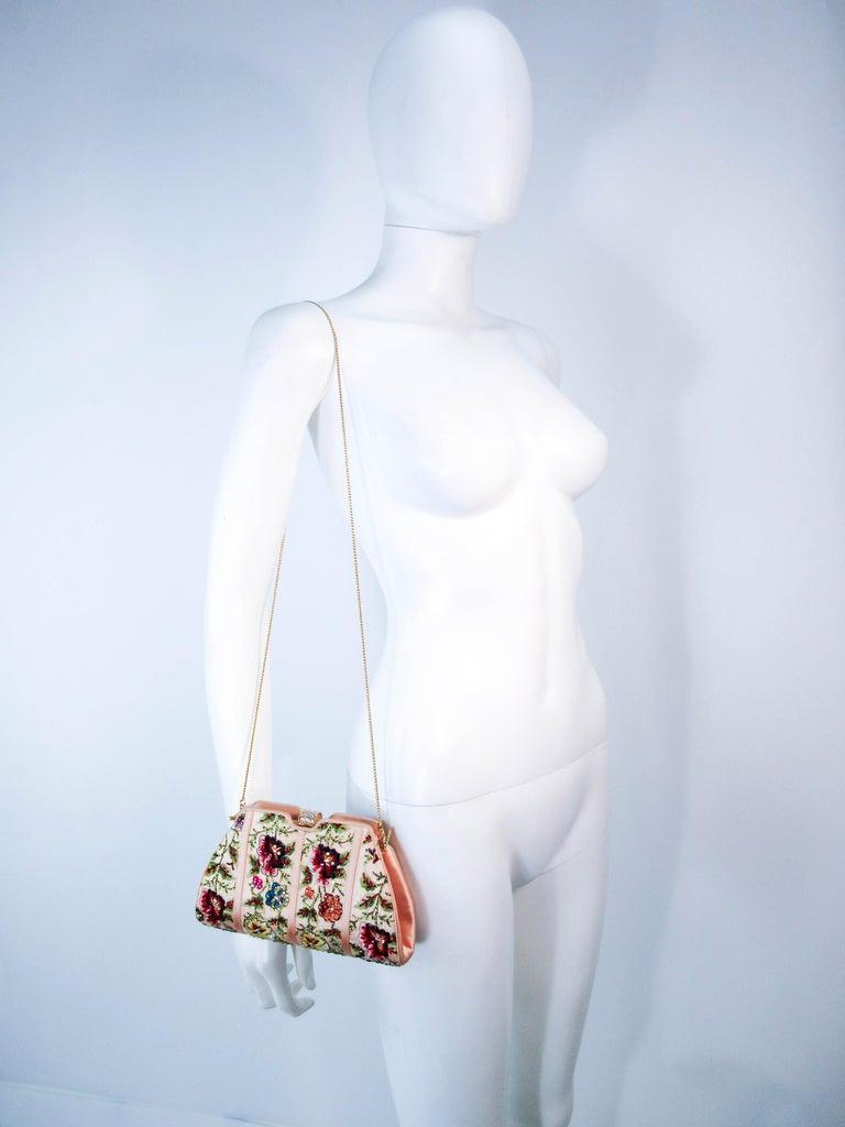 Judith Leiber Peach Satin Rhinestone Embroidered Purse  For Sale 6