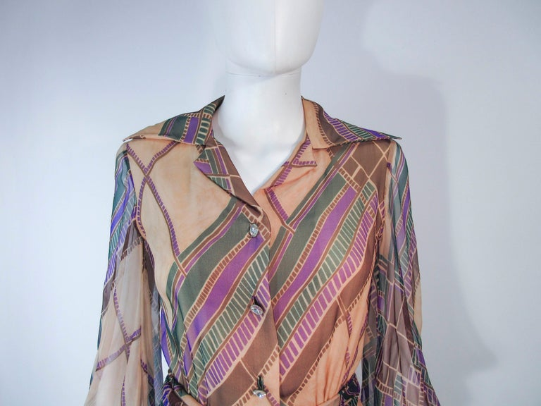Valentino Vintage Silk Chiffon Abstract Long Sleeve Maxi Dress, 1970s In Excellent Condition For Sale In Los Angeles, CA
