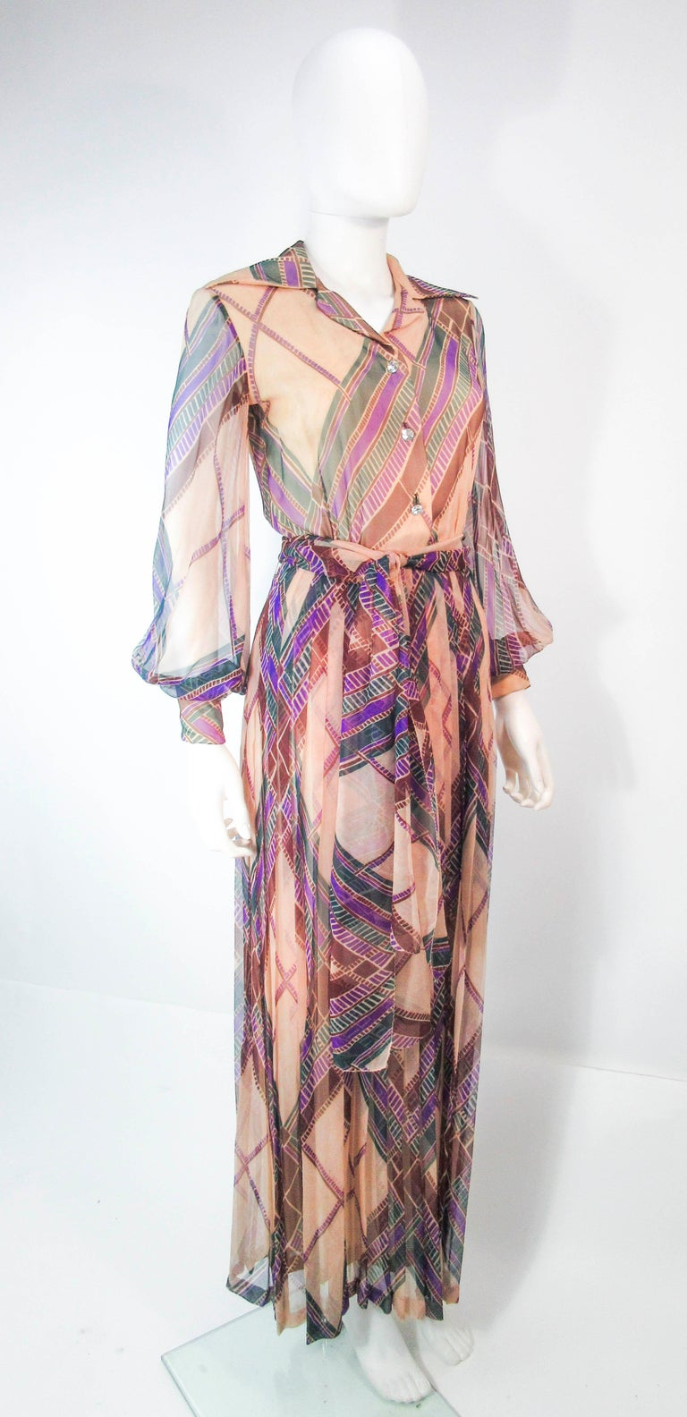 Women's Valentino Vintage Silk Chiffon Abstract Long Sleeve Maxi Dress, 1970s For Sale