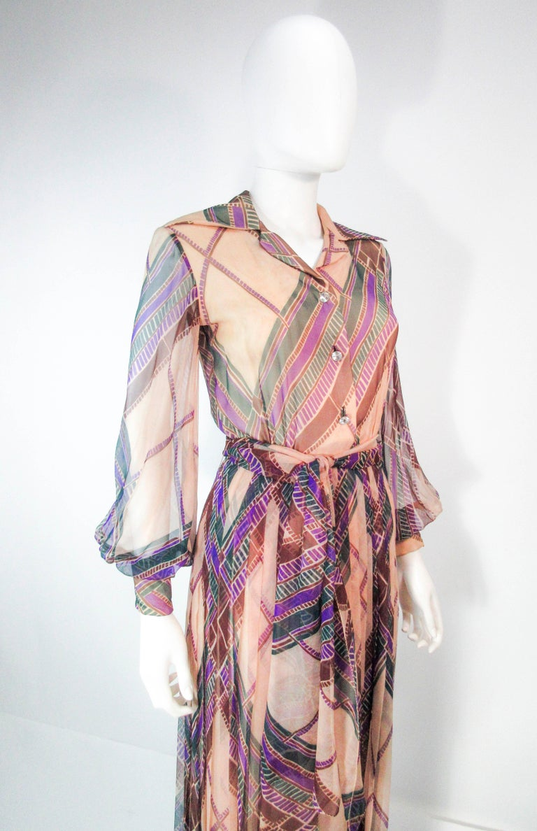 Valentino Vintage Silk Chiffon Abstract Long Sleeve Maxi Dress, 1970s For Sale 1