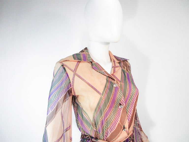 Valentino Vintage Silk Chiffon Abstract Long Sleeve Maxi Dress, 1970s For Sale 2