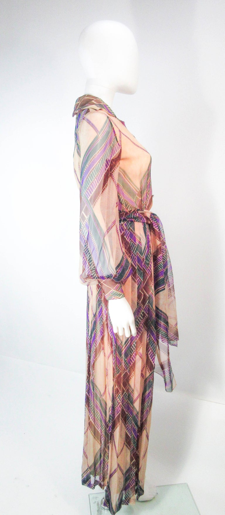 Valentino Vintage Silk Chiffon Abstract Long Sleeve Maxi Dress, 1970s For Sale 3