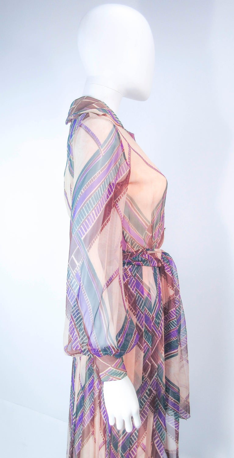 Valentino Vintage Silk Chiffon Abstract Long Sleeve Maxi Dress, 1970s For Sale 4