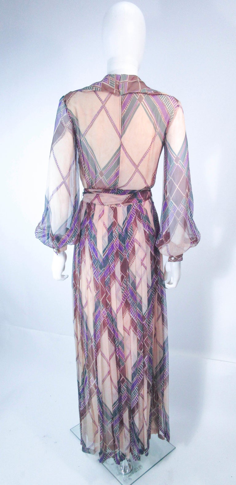 Valentino Vintage Silk Chiffon Abstract Long Sleeve Maxi Dress, 1970s For Sale 6