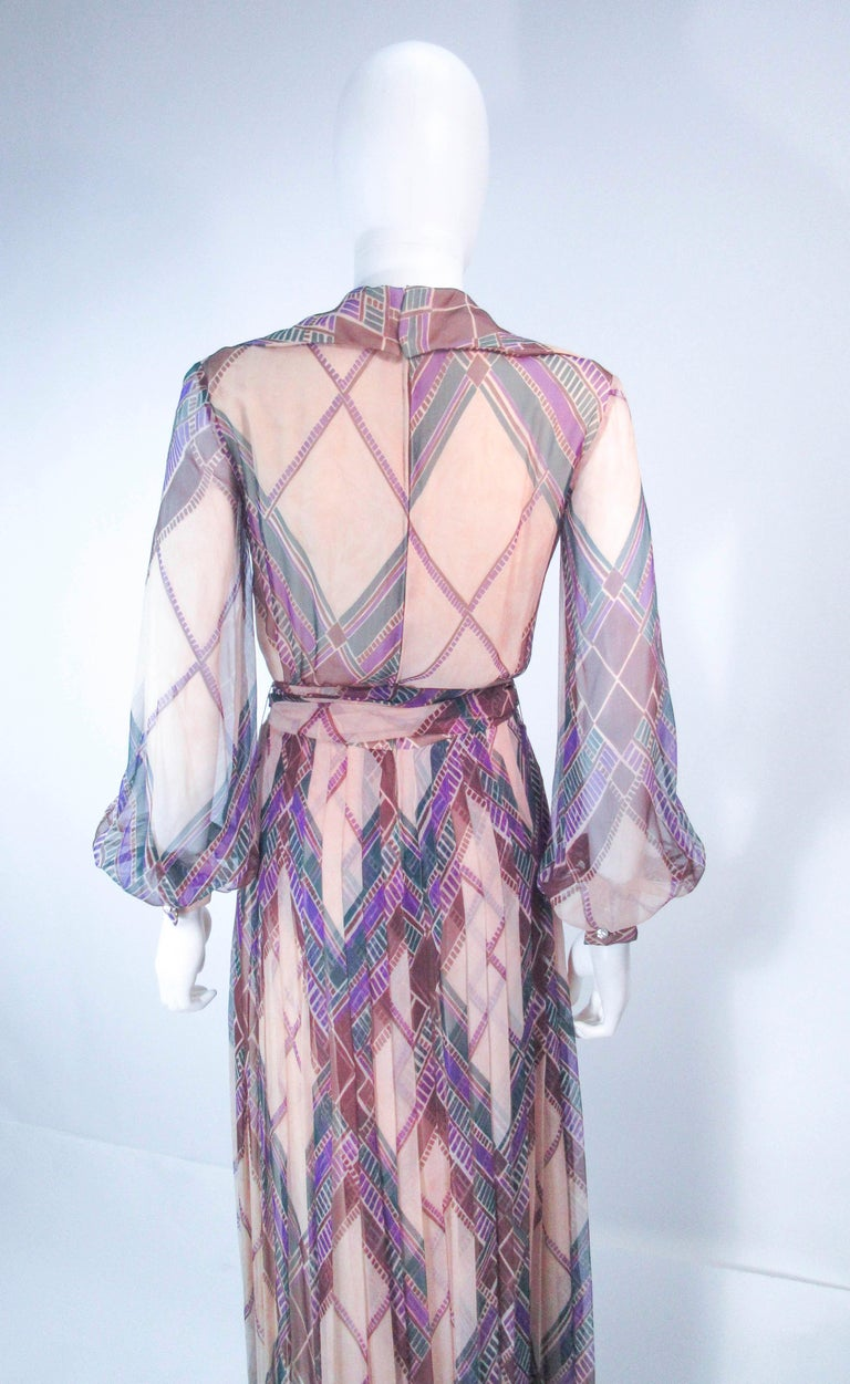 Valentino Vintage Silk Chiffon Abstract Long Sleeve Maxi Dress, 1970s For Sale 7