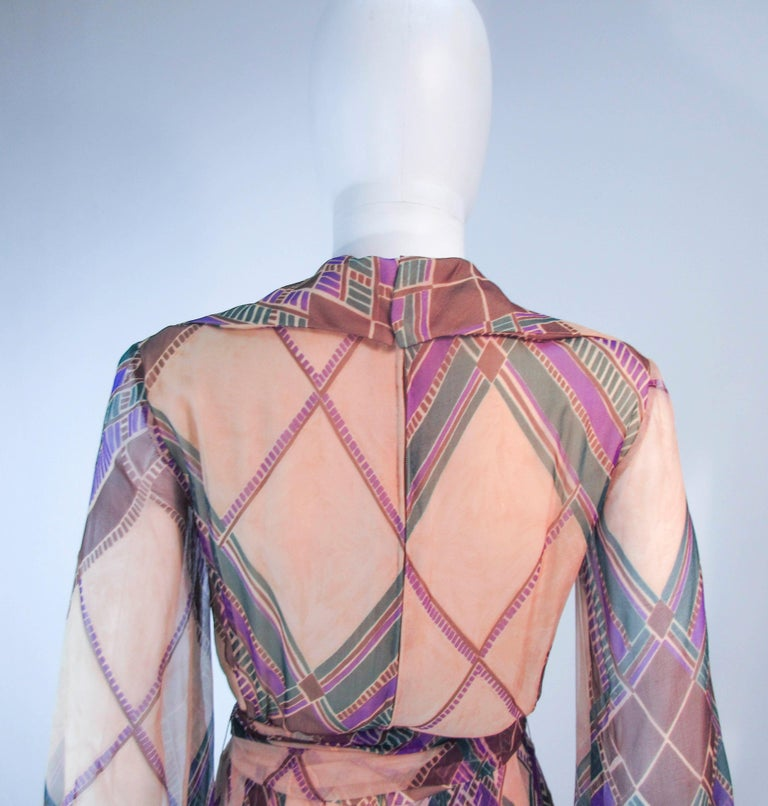 Valentino Vintage Silk Chiffon Abstract Long Sleeve Maxi Dress, 1970s For Sale 8