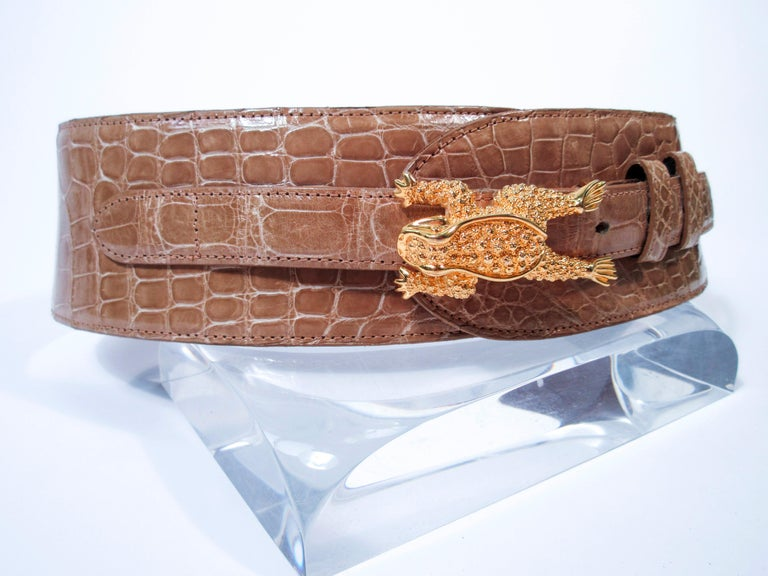 Brown BARRY KISELSTEIN-CORD Nude Alligator Belt Goldtone Sterling Frog Buckle Large For Sale