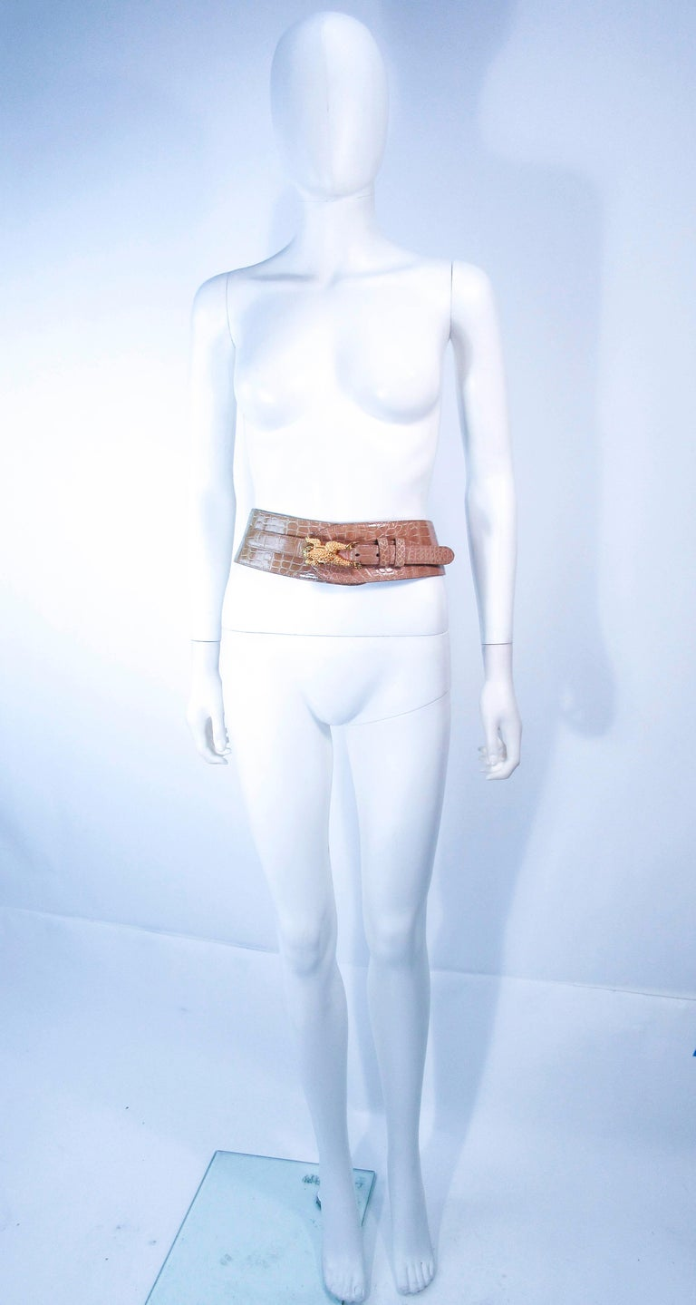 BARRY KISELSTEIN-CORD Nude Alligator Belt Goldtone Sterling Frog Buckle Large For Sale 7
