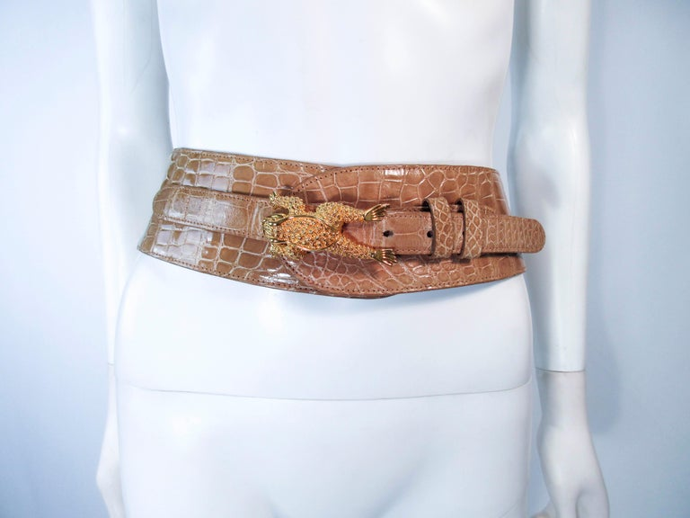 BARRY KISELSTEIN-CORD Nude Alligator Belt Goldtone Sterling Frog Buckle Large For Sale 8