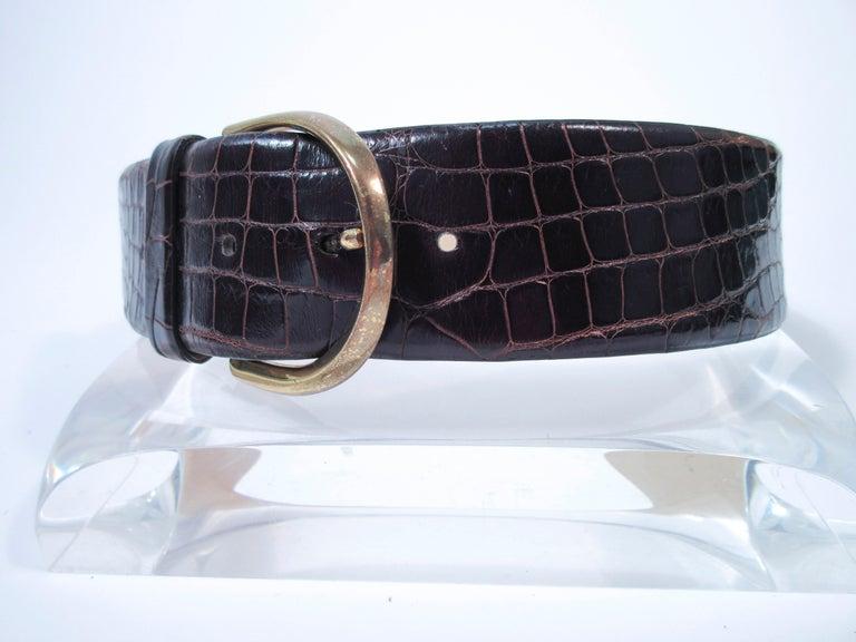 Black DONNA KARAN Brown Alligator Belt with Gold Tone Hardware Size Petite  For Sale