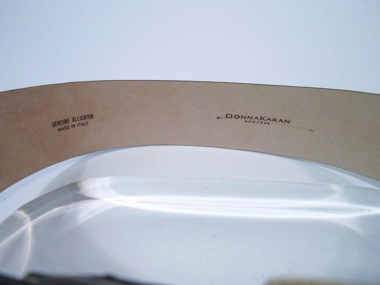 DONNA KARAN Brown Alligator Belt with Gold Tone Hardware Size Petite  For Sale 2