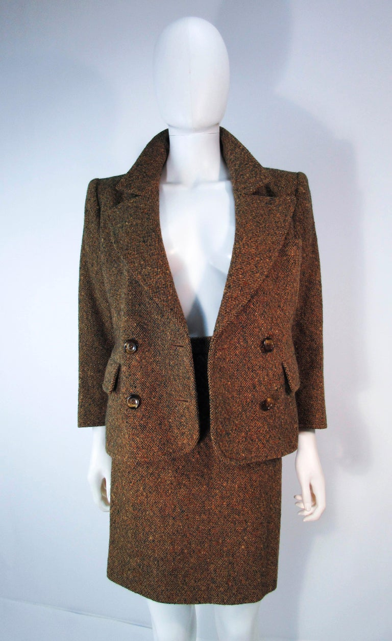 YVES SAINT LAURENT 1970's Brown & Green Skirt Suit Size 4 6 For Sale 1