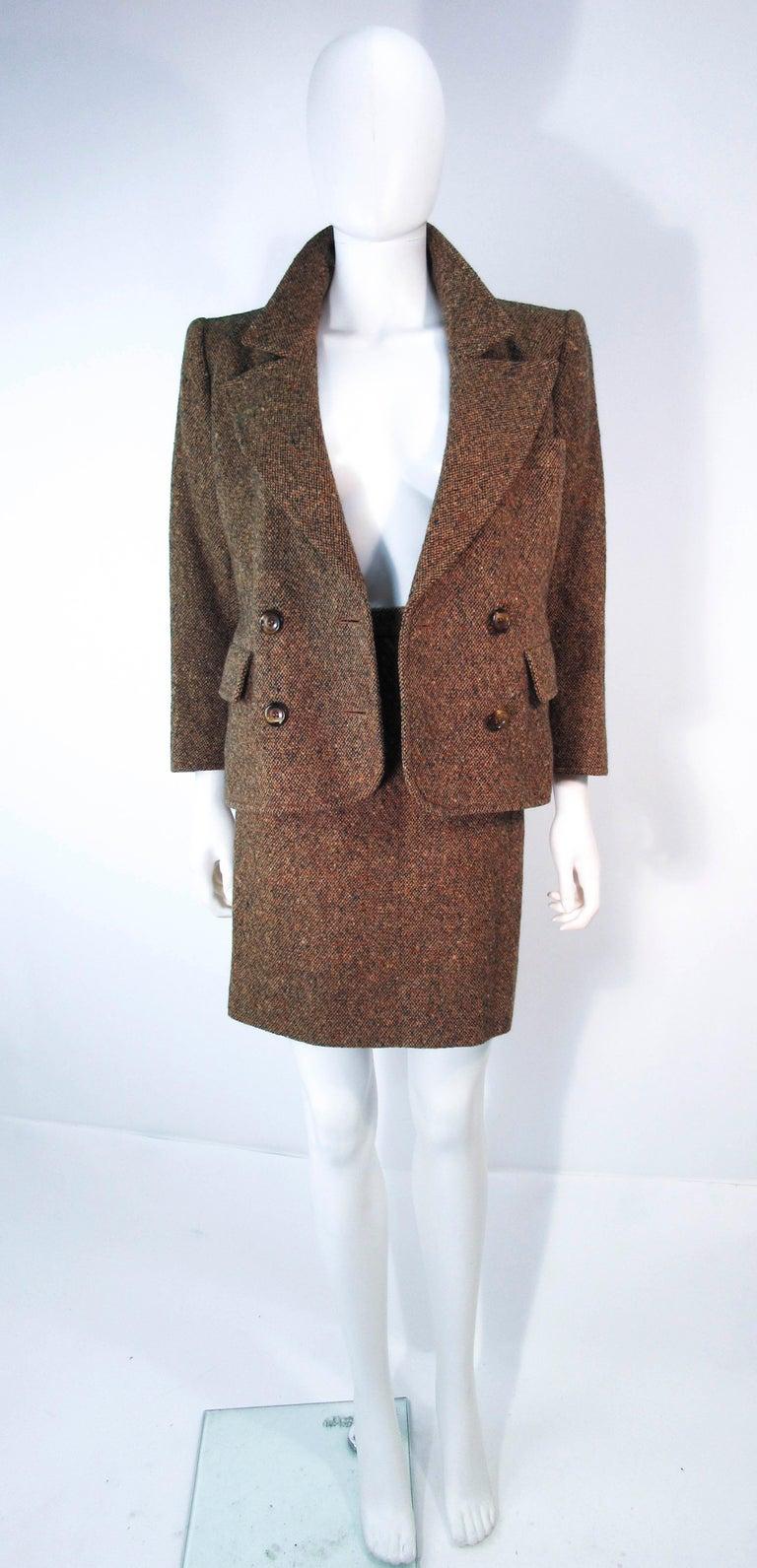 Women's YVES SAINT LAURENT 1970's Brown & Green Skirt Suit Size 4 6 For Sale