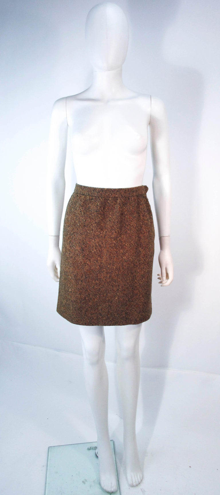YVES SAINT LAURENT 1970's Brown & Green Skirt Suit Size 4 6 For Sale 8