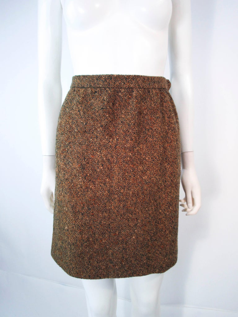 YVES SAINT LAURENT 1970's Brown & Green Skirt Suit Size 4 6 For Sale 9